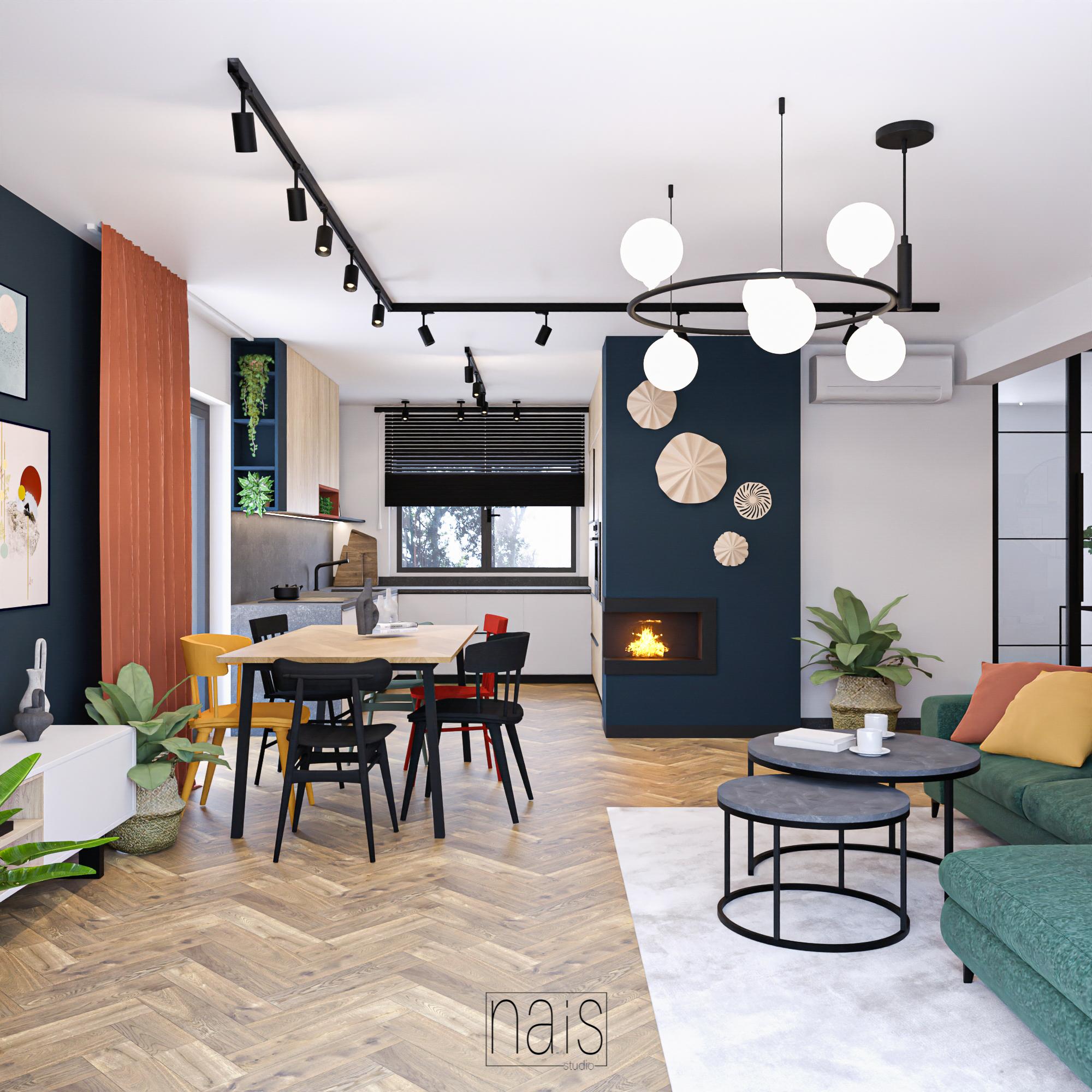 granatowy-bio-kominek-kolorowe-dodatki-drewniane-krzesla-okregle-stoliki-kawowe