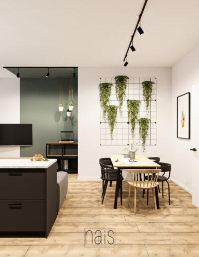 jadalnia-duzy-stol-dekoracja-scienna-rosliny-we-wnetrzu-kolorowa-sciana
