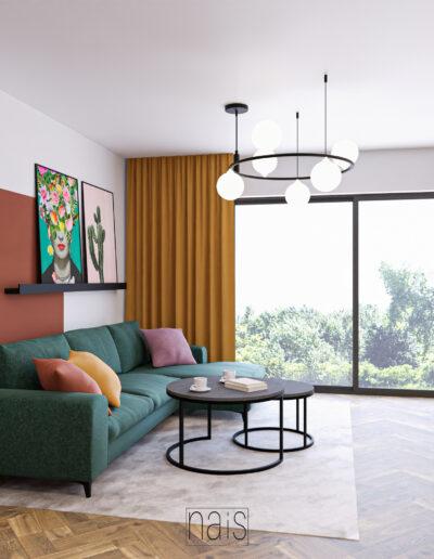 salon-kolorowa-sciana-musztardowe-zaslony-zielony-naroznik-stoliki-kawowe